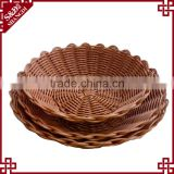 S&D Colorful Design Fish Spiral Cut Carved poly rattan Carved Folding Fruit Soft bamboo Bread Basket