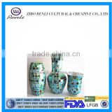 Elegant Decoration Handmade Mosaic Peacock Blue Modern Glass Vases
