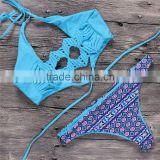 memory cup Knitting Blue Girls Bikini 2016 Neoprene Bikinis Bandage Women Swimwear Sexy Sport Suit Floral Bathing Suit Swimsuit