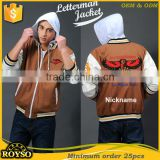 Custom Baseball Black Mens Wool Varsity Jacket with Leather Sleeve Arms Letterman Team Jackets with Hoody Cheap Plain Wholesale