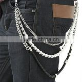 3 Line Silver Metal Black Leather Long Biker Key Jean Wallet Chain