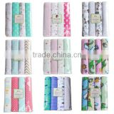 102*76cm 4pcs/pack cozy 100%cotton flannel swaddling receiving blanket for newborn baby