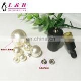 white plastic beads pearl button with rivet