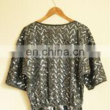 Vintage grey sequins top evening dress ladies top fashion ladies top
