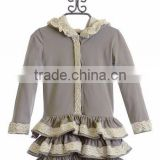 grey long sleeve ruffle winter children lace coats with hat whoesale kid clothes outwear