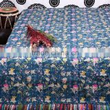 Stylish Home Decor Sari Quilt Designer Kantha Gudari Flower Prints Bedspread Handmade Cotton Bed Cover