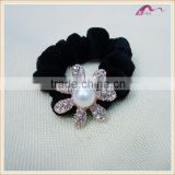 Velvet Elastic Hair Band Scrunchies Donut Ponytail Holder With Crystal Flower