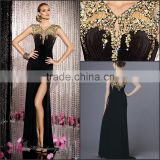 Hot Sale Sexy and Beautiful Velvet Prom Dress with Beading and Side Slit High Quality V-Neck and Sleeveless Prom Dress