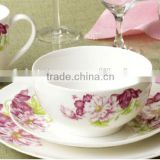 16 pcs new bone china dinner set with flower decal corelle dinnerware sets with new bone china material