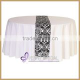 TR002A flocking wedding satin crochet table runner