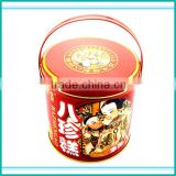printed metal tin pail with handle for food canning