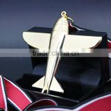 custom sports zinc alloy gold and black 3d airplane medals and trophies,medal ribbon