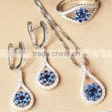 2015 Latest Design Popular wedding jewelry sets,sterling blue sapphire set(give necklace) ,wedding gift