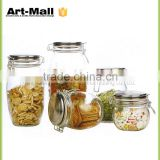 Food Grade Glass Jars for Nut,Coffee,Tea,Spice Glass Jars with Rubber or Silicone Seal Airtight Clip Top
