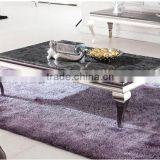 Foshan Factory Supply Natural Black Marble Stainless Steel Homemade Coffee Table