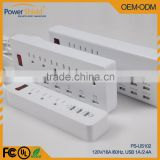 North America USA Movable Electrical Power Extension Socket Surge Protector 120V 16A standard Grounding UL FCC Saudi Arabia