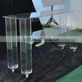 Fashionable movable double-layer design clear acrylic coffee table tea table with wheels