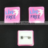 low price square plastic back party button badge
