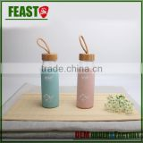 500ml transparent cylinder water glass bottle with bamboo cap wholesale