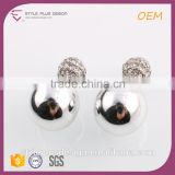 E74294K06 New Model Jewellery Fashion Earrings 2015 Alloy Double Ball Studs 925 Sterling Silver Wedding Earring