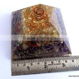 Orgonite Mix Chakra Stone Crystal Amethyst Pyramid With 4 SBB Coil Charged Crystal Point
