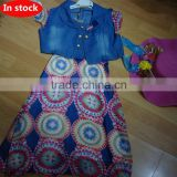 new design chiffon dress 2015 for kids and with low price in stock clothing and girls chiffon skirts with denim