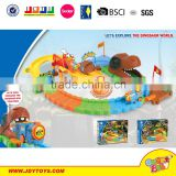 Dinosour world reaction light music intelligent battery operated railway pathway building block