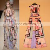 2015European and American runway similar design Printed sleeveless Long Dress