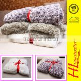 HLHT competitive price warm and breath 100 polyester blanket,faux fur fleece blanket,plush flannel blanket