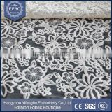 2015 high quality cotton fabric floral embroidered tulle fabric swiss voile lace fabric for wedding dresses