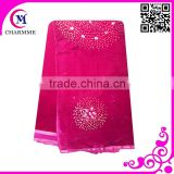 2015 design african velvet lace fabric 0035 fushcia pink velvet lace with mant rhinestones