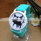 Very cute hot selling cat face watch silicone band hand watch