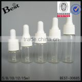 5/8/10/12/15ml mini clear glass tube bottle personal care high quality white plastic dropper                                                                                                         Supplier's Choice