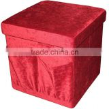 stronger!! Red Corduroy folding storage ottoman with bag