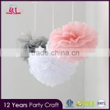 Mixed Pink Gray White Tissue Flower Paper Pom Poms                                                                         Quality Choice