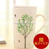 coffee bone china mug coffee mug with lid and spoon                                                                         Quality Choice