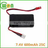 Rechargeable battery pack 7.4v 600mah 25C battery for Remote Control Car Gun Helicopter Toy