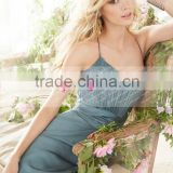 Fashion A-line Long Chiffon Lace Bridesmaid Dress Maid Of Honor Dress ZY538