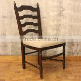 Antique French Ladder Back Dining Chairs With Linen Upholstery