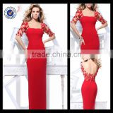 E0185 Hot Sale Long Red Elegant Full Figure Mermaid Satin Fabric Evening Dress Patterns With Half Sleeve