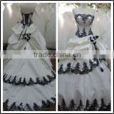 Lace Sweetheart Ball Gown Real Pictures Floor Length Custom Made Long Formal Bridal BW281wedding dresses black and white