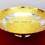 New design made in India promotional gift, corporate gift item gold and silver plated brass bowl