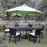 Modern Design Black Rattan Dining Table With Umbrella