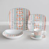 20pcs square shape porcelain dinnerware set,16pcs square shape dinner set with decal,porcelain dinnerware set