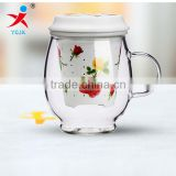 tea cups/milk cup/coffee cup with High borosilicate clear glass material
