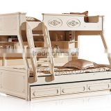 European Classic Rococo Style Pure White Wood Stairway Bunk Bed with Drawers BF11-09183a
