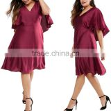 The Casual plus size women Butterfly Sleeve Sexy V neck straight short dresses for fat lady .