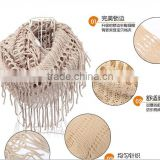 wholesale fringed ladies fishnet knit infinity scarf