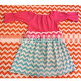 Hot Selling baby chevron pettidress 1piecs stitching skirt fresh pillowcase dress summer printed chevron cotton dress