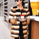 Autumn and winter women imitation fur imitation fox fur horizontal stripes black and yellow stitching long sleeve long coat coat